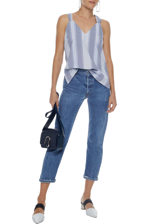 1bc915e7d7d04 Derek Lam - Tie-back Striped Fil Coupé Cotton Oxford Top Light Blue - Lyst.  View fullscreen