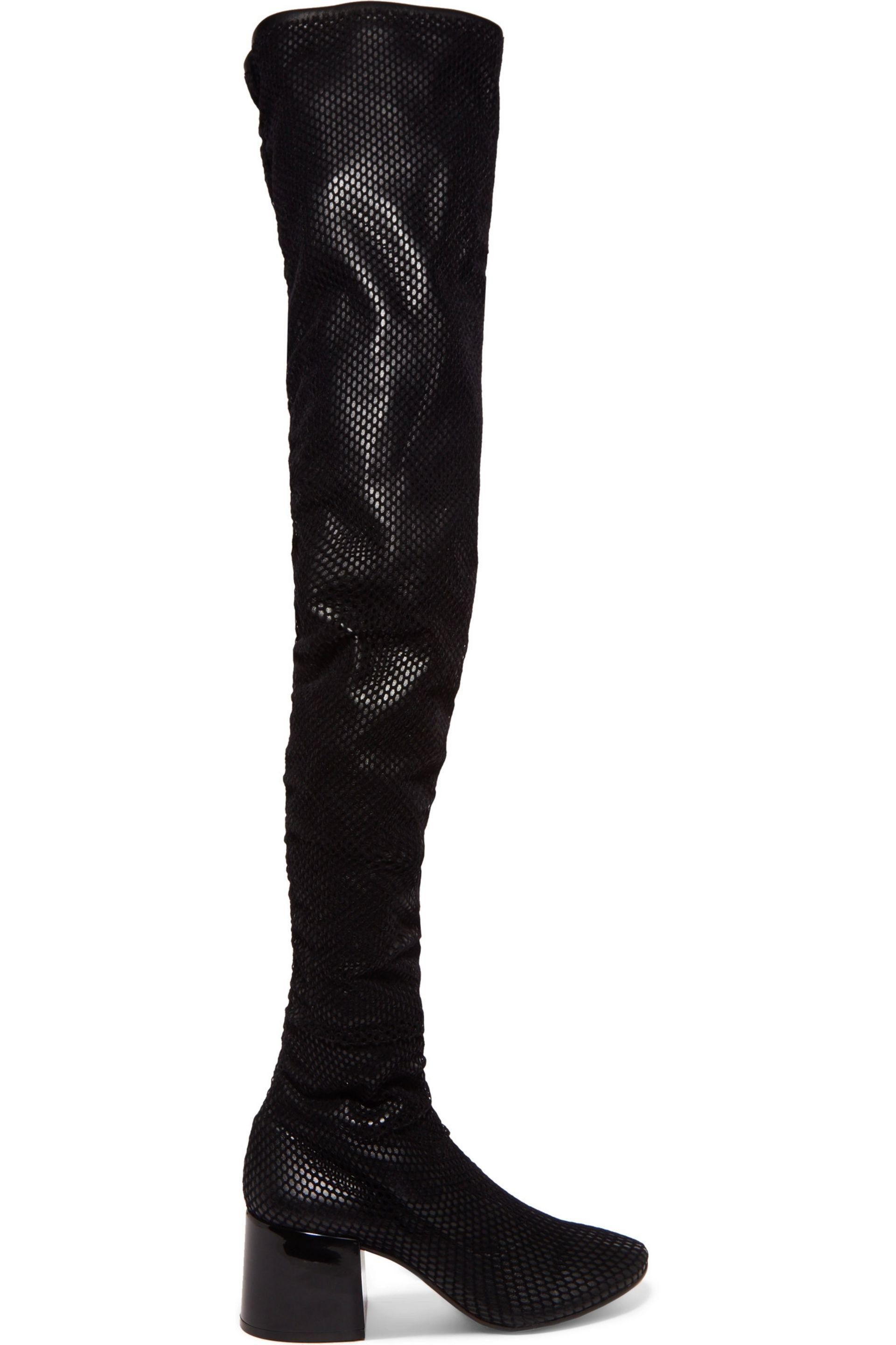 MM6 Maison Martin Margiela Black Mesh Thigh-High Boots GulJ0