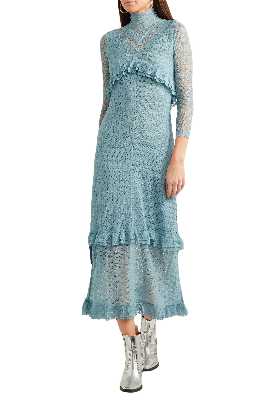 27b6b5427190 Lyst - ALEXACHUNG Woman Ruffle-trimmed Pointelle-knit Turtleneck ...