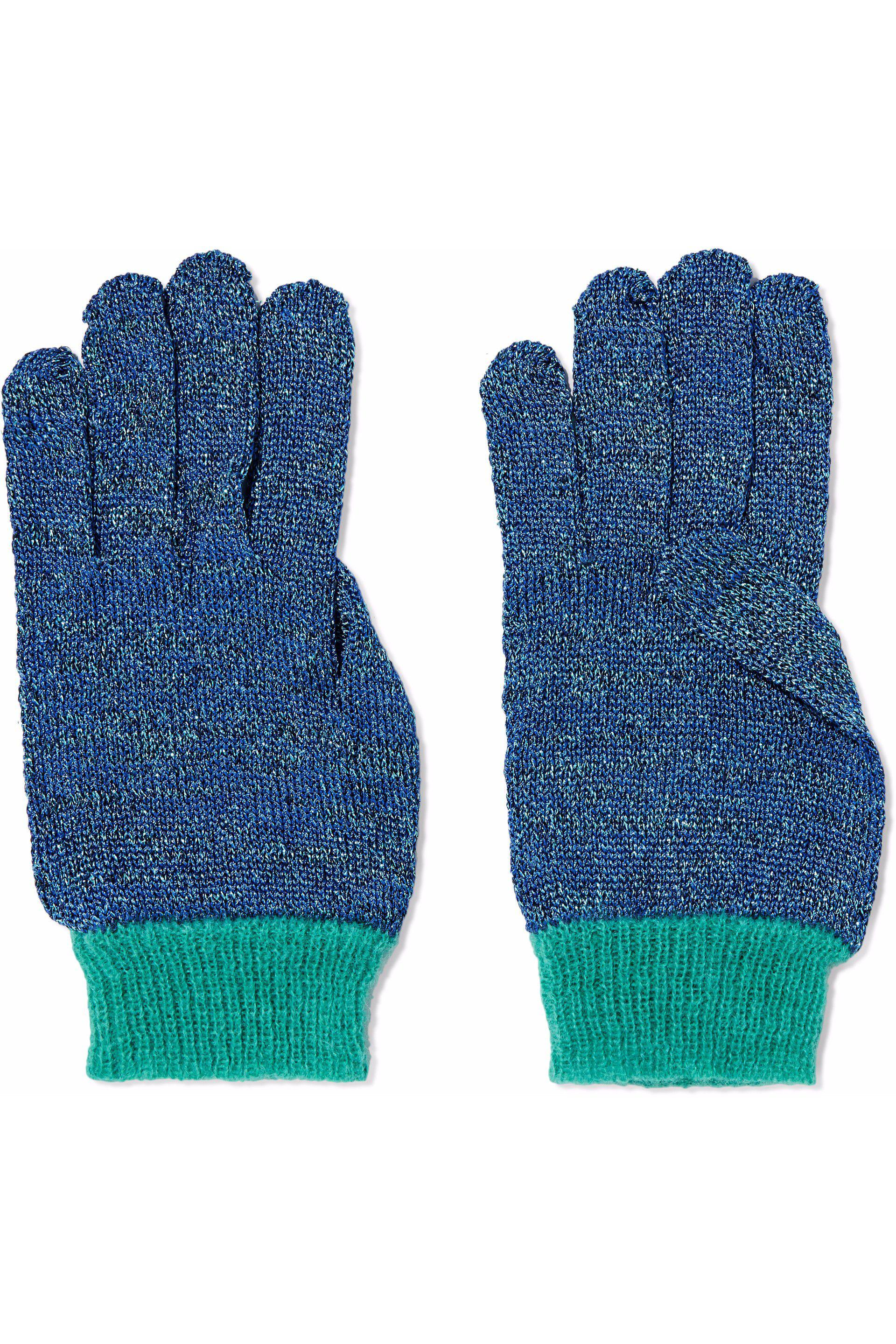d41ba694ac7 Lyst - Missoni Metallic Crochet-knit Gloves in Blue