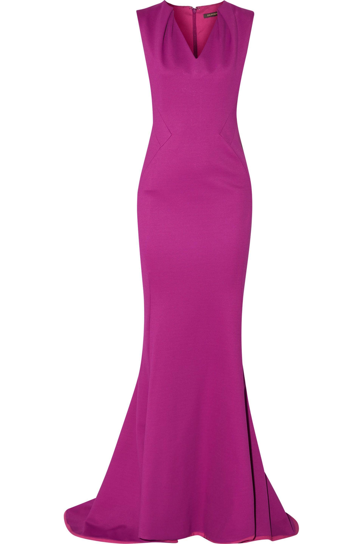Zac Posen Woman Fluted Cutout Satin Gown Cobalt Blue Size 6 Zac Posen tFESZG7w