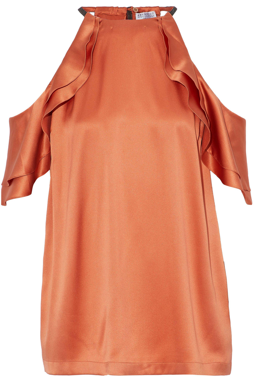 Brunello Cucinelli. Women's Ruffled Cold-shoulder Embellished Silk-blend  Satin Top