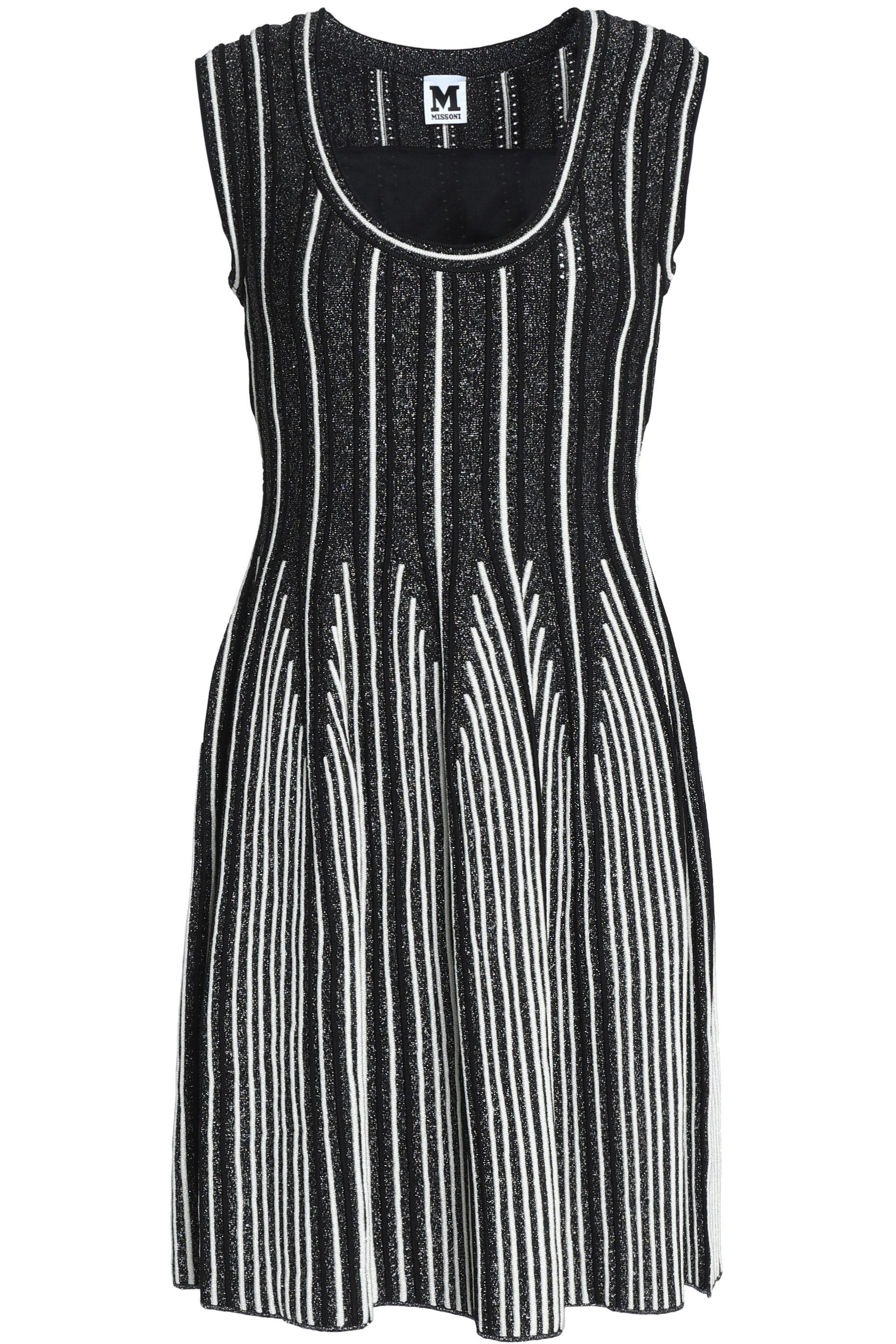 M Missoni Woman Flared Textured Stretch-knit Mini Dress Black Size 46 M Missoni wjnDN
