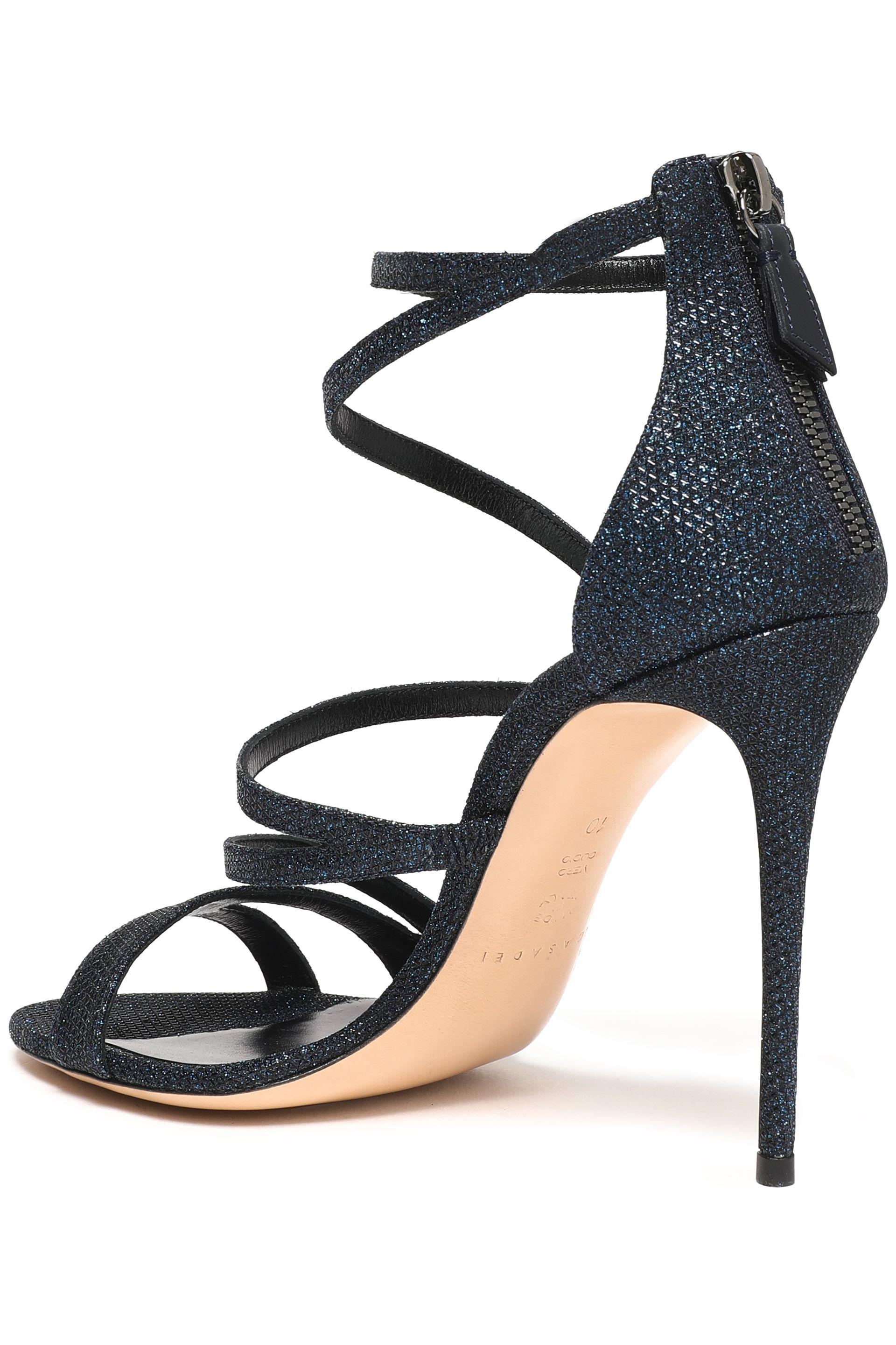 Casadei Woman Satellite Metallic Mesh Sandals Midnight Blue Size 40 Casadei f6if3Pog7