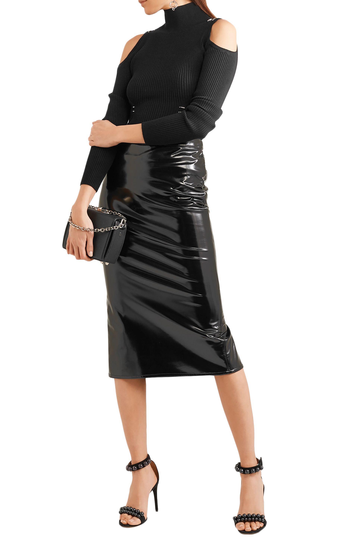 c87003f900726 Lyst - Mugler Woman Cold-shoulder Ribbed-knit Sweater Black in Black ...