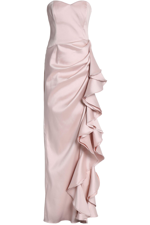 748ed5a8d151 Badgley Mischka Ruffled Duchesse Satin-twill Gown in Pink - Lyst