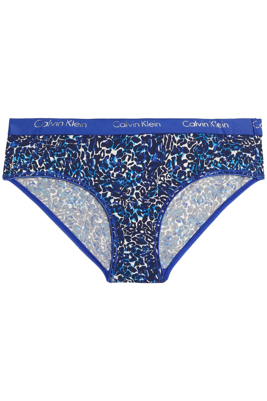 a65b66a5c82 Calvin Klein - Woman Leopard-print Stretch-cotton Jersey Mid-rise Briefs  Blue. View fullscreen