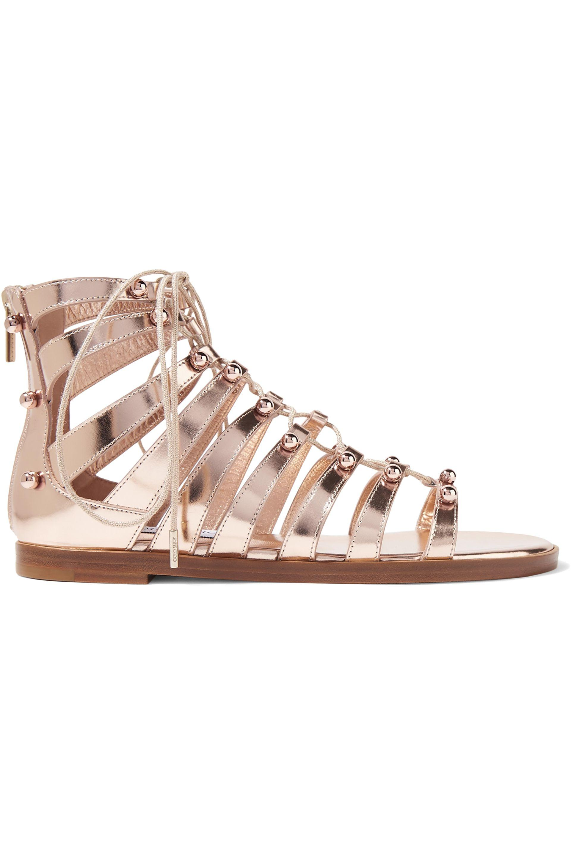 096f8f801a1 Jimmy Choo. Women s Woman Gigi Studded Metallic Leather Sandals Rose Gold