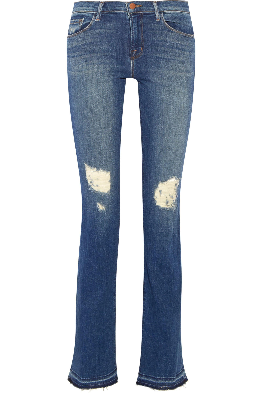 J Brand. Women's Blue Brya Distressed Mid-rise Bootcut Jeans