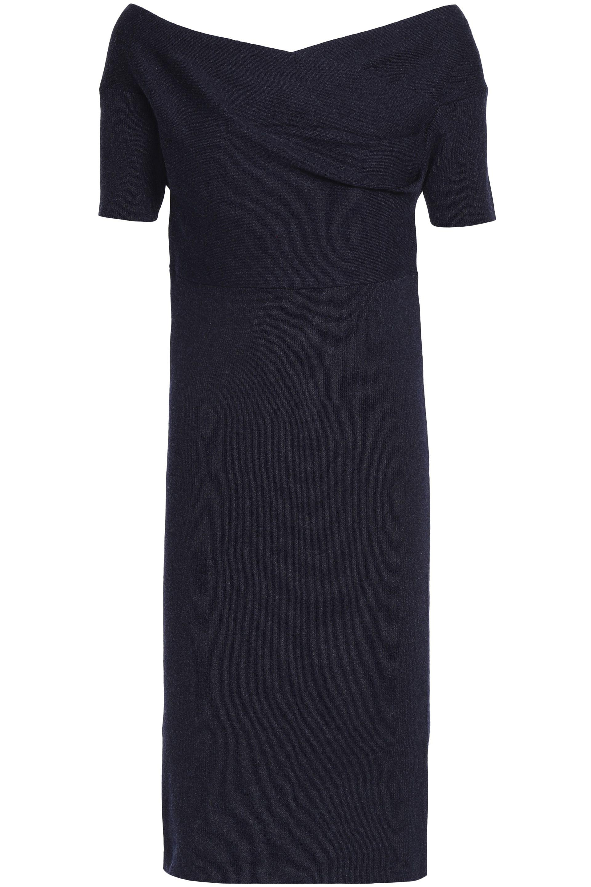 Sachin & Babi Woman Fluted Chantilly Lace-paneled Stretch-knit Dress Navy Size M Sachin & Babi PRwenB