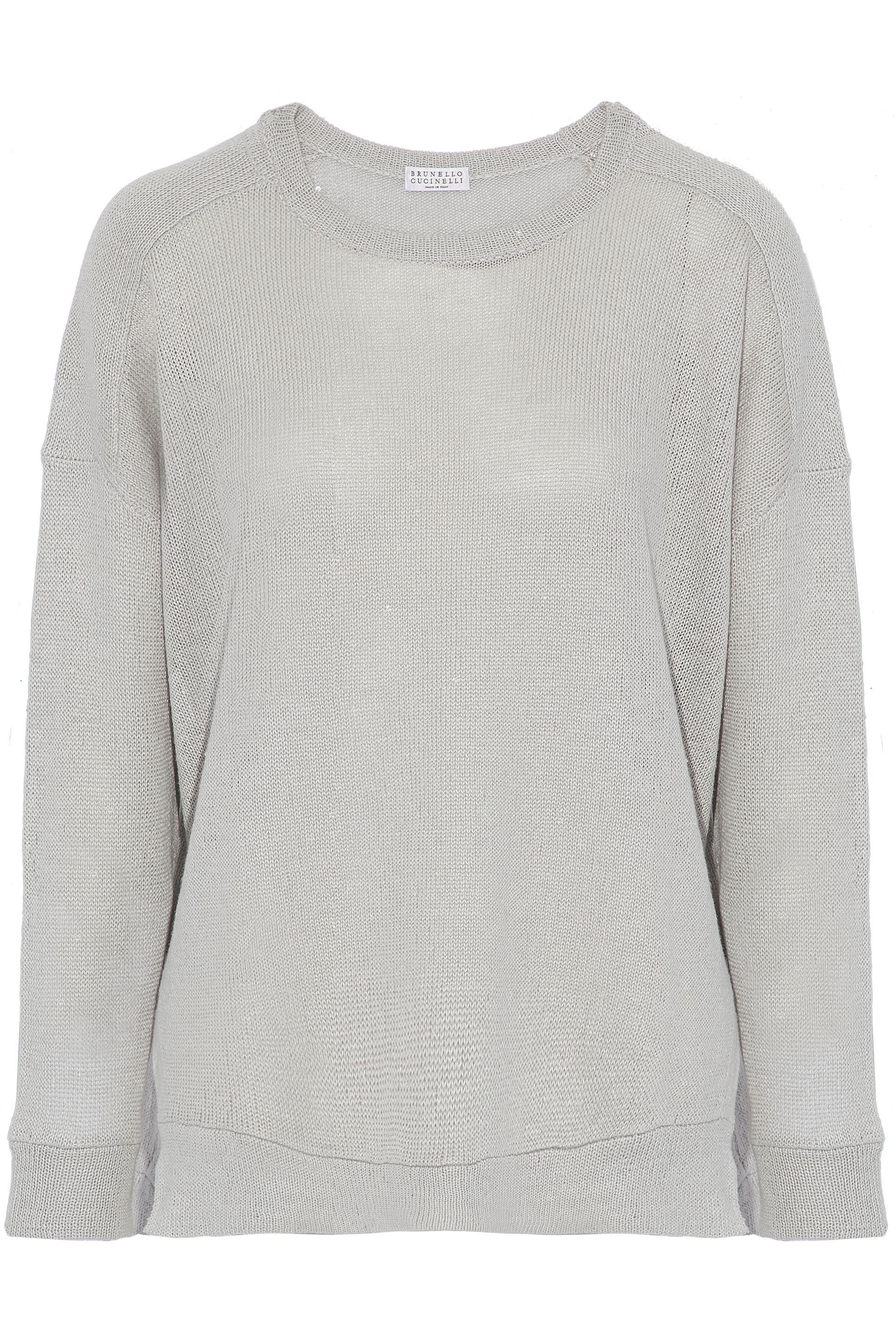 Looking For Cheap Sale Official Site Brunello Cucinelli Woman Sequin-embellished Linen And Silk-blend Sweater Light Gray Size M Brunello Cucinelli Big Sale Online bjg6Gezq