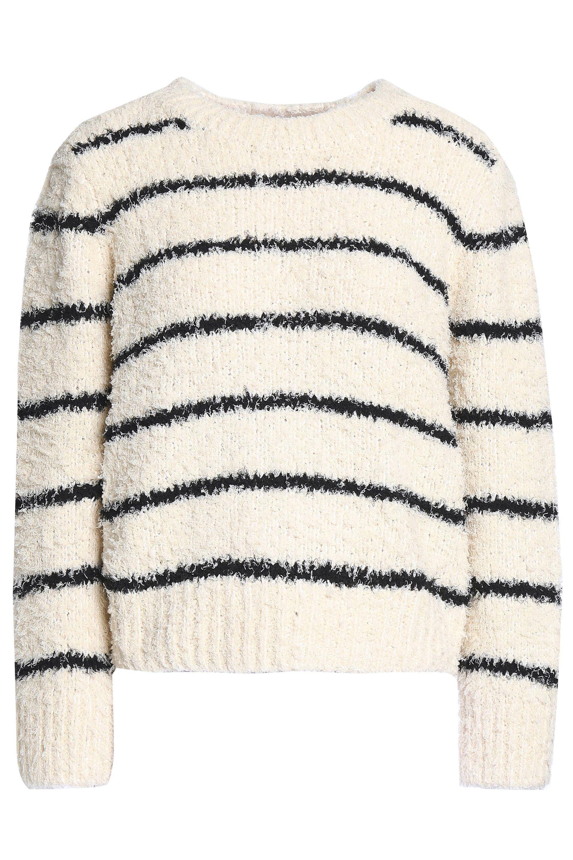 b8582ac21 Vince. Women's Woman Striped Cotton-blend Bouclé Jumper Ecru
