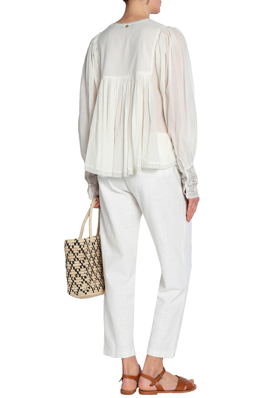 Cheap 2018 Unisex For Sale Sale Online Antik Batik Woman Lace-paneled Gathered Crinkled-cotton Dress Off-white Size 40 Antik Batik Outlet With Credit Card Cheap Sale Wiki Clearance Shop For ATzGyi6