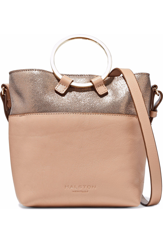 c6b4b7bd9efc Halston Metallic Cracked And Smooth-leather Shoulder Bag - Lyst