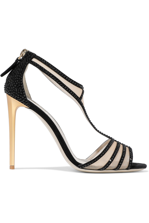14c2cc909b Lyst - Giorgio Armani Mesh-paneled Crystal-embellished Suede Sandals ...