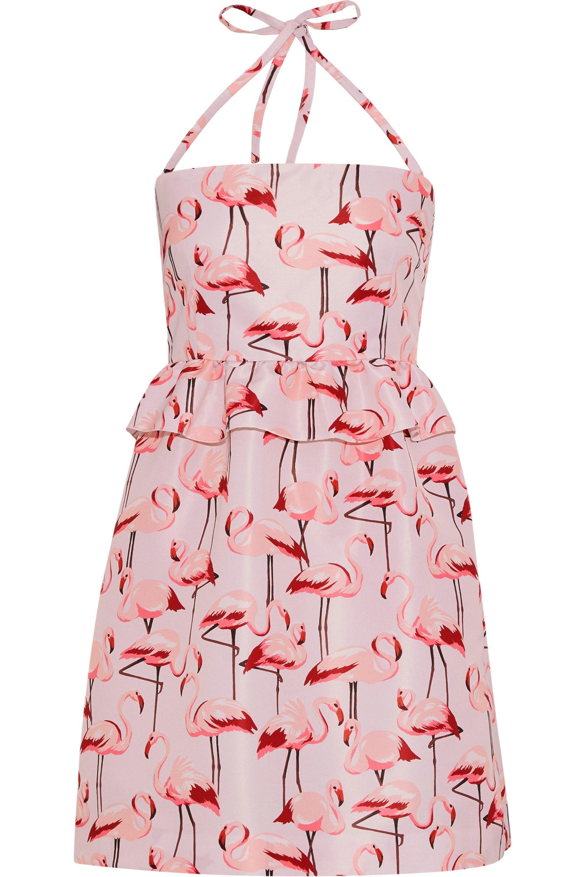 c59f8454fb RED Valentino. Women s Woman Ruffle-trimmed Printed Faille Halterneck Mini  Dress Baby Pink