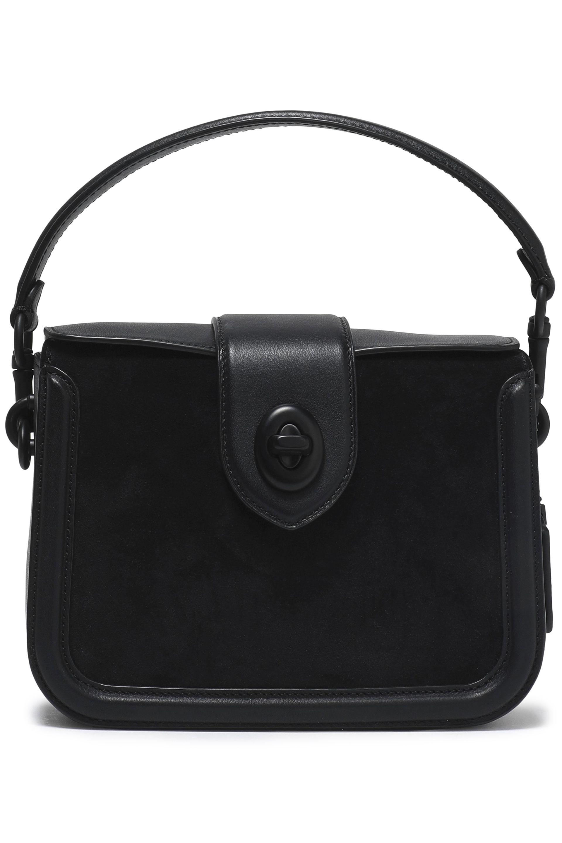 dbf39a8b53 ... real coach leather and suede shoulder bag in black lyst 025d9 632ea