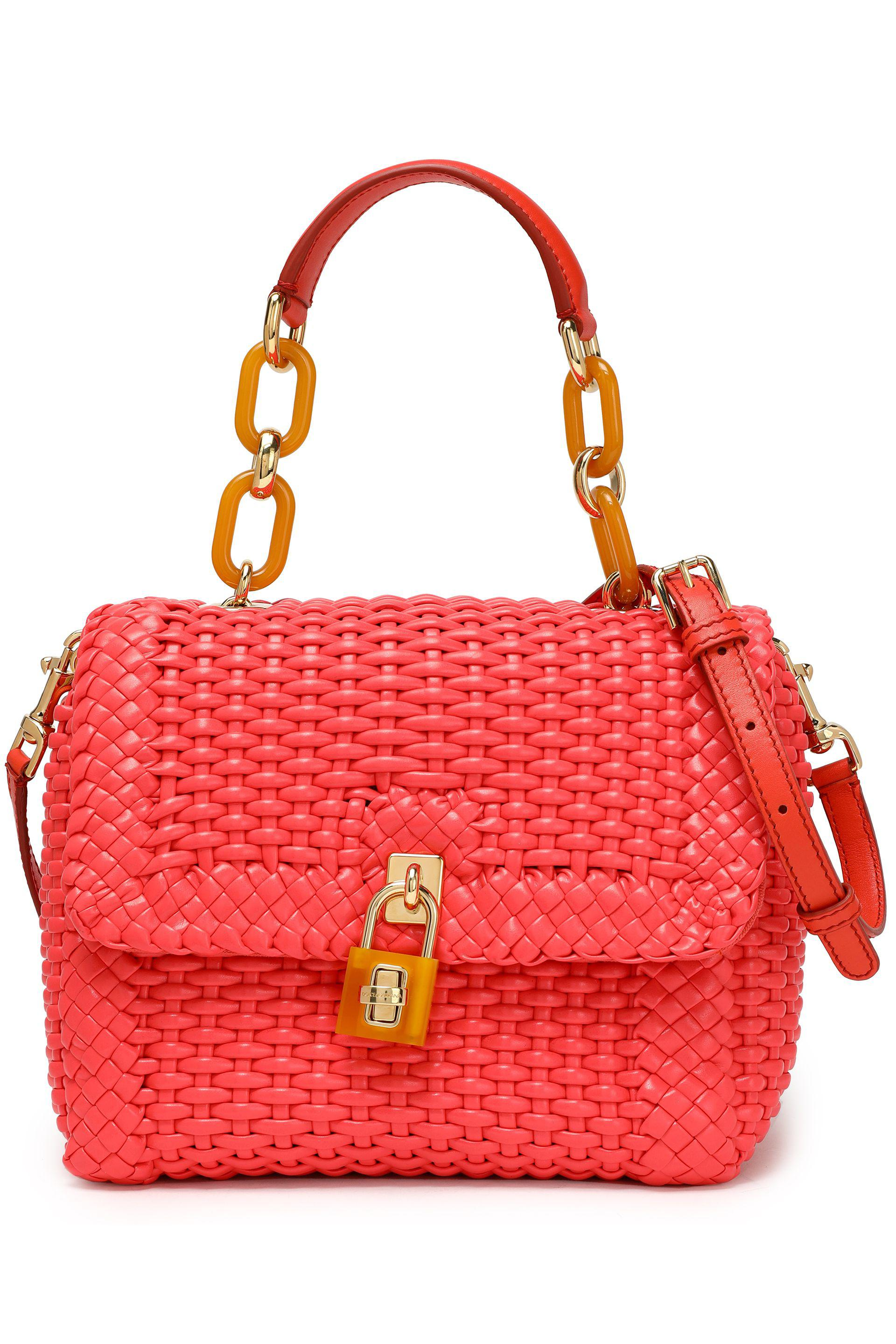 Dolce   Gabbana Miss Dolce Woven Leather Shoulder Bag in Red - Lyst 5db7c4ddfb8e3