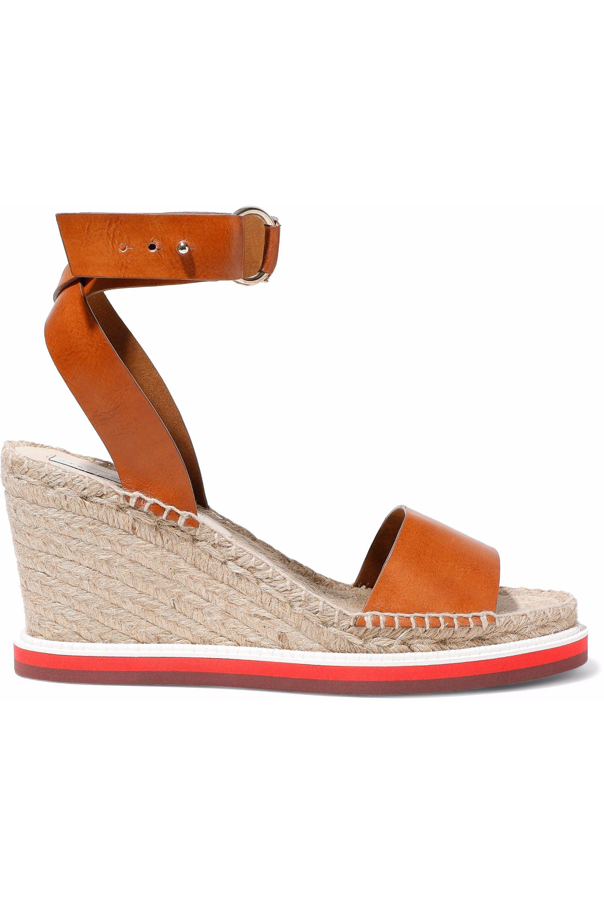 0e9ead108 Lyst - Stella McCartney Faux Leather Espadrille Wedge Sandals in Brown