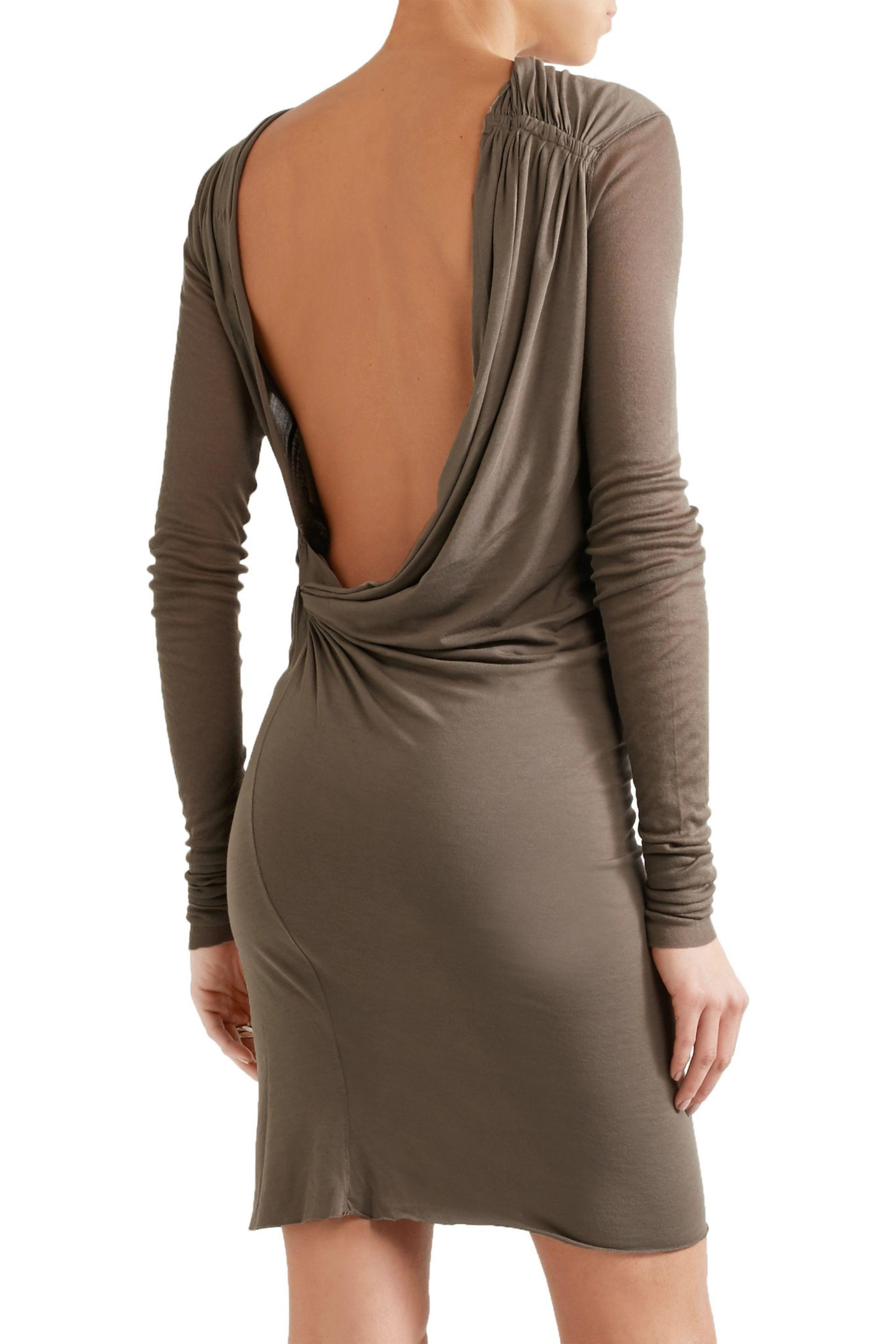 Rick Owens Woman Draped Open-back Stretch-jersey Mini Dress Taupe Size 48 Rick Owens YBBVK