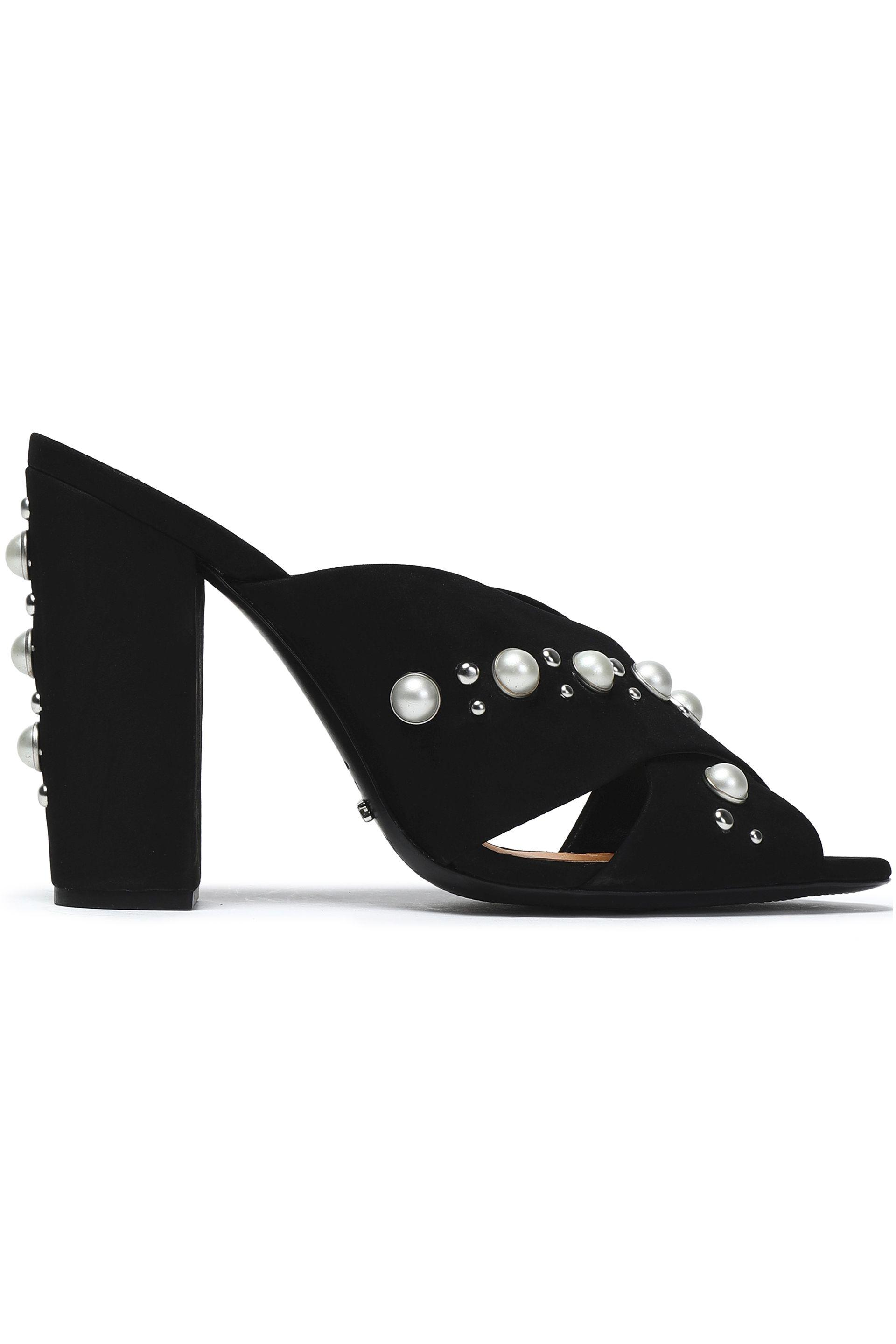 buy cheap top quality Schutz Stud-Embellished Velvet Sandals free shipping online outlet 2014 newest QxntqNoVtk