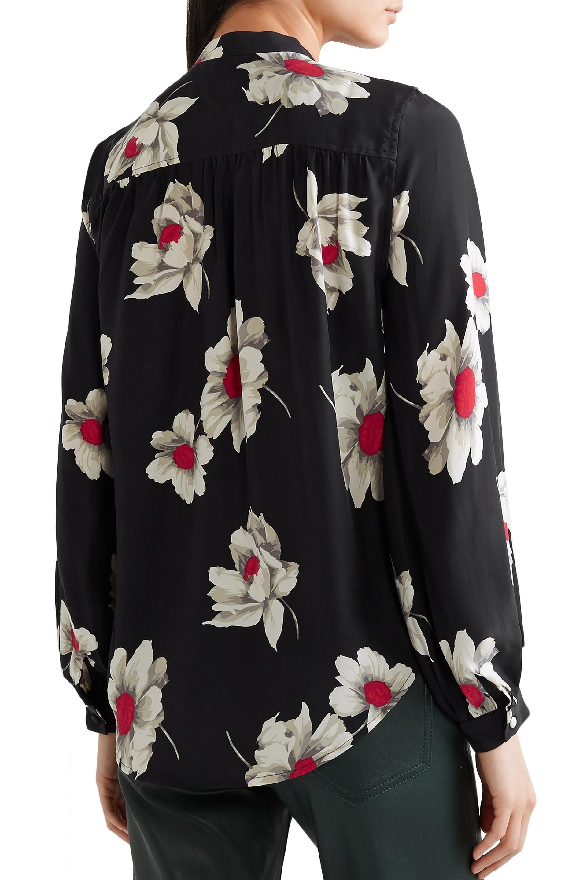 5361d1a7271823 Equipment Cornelia Floral-print Washed-silk Shirt Black in Black - Save 43%  - Lyst