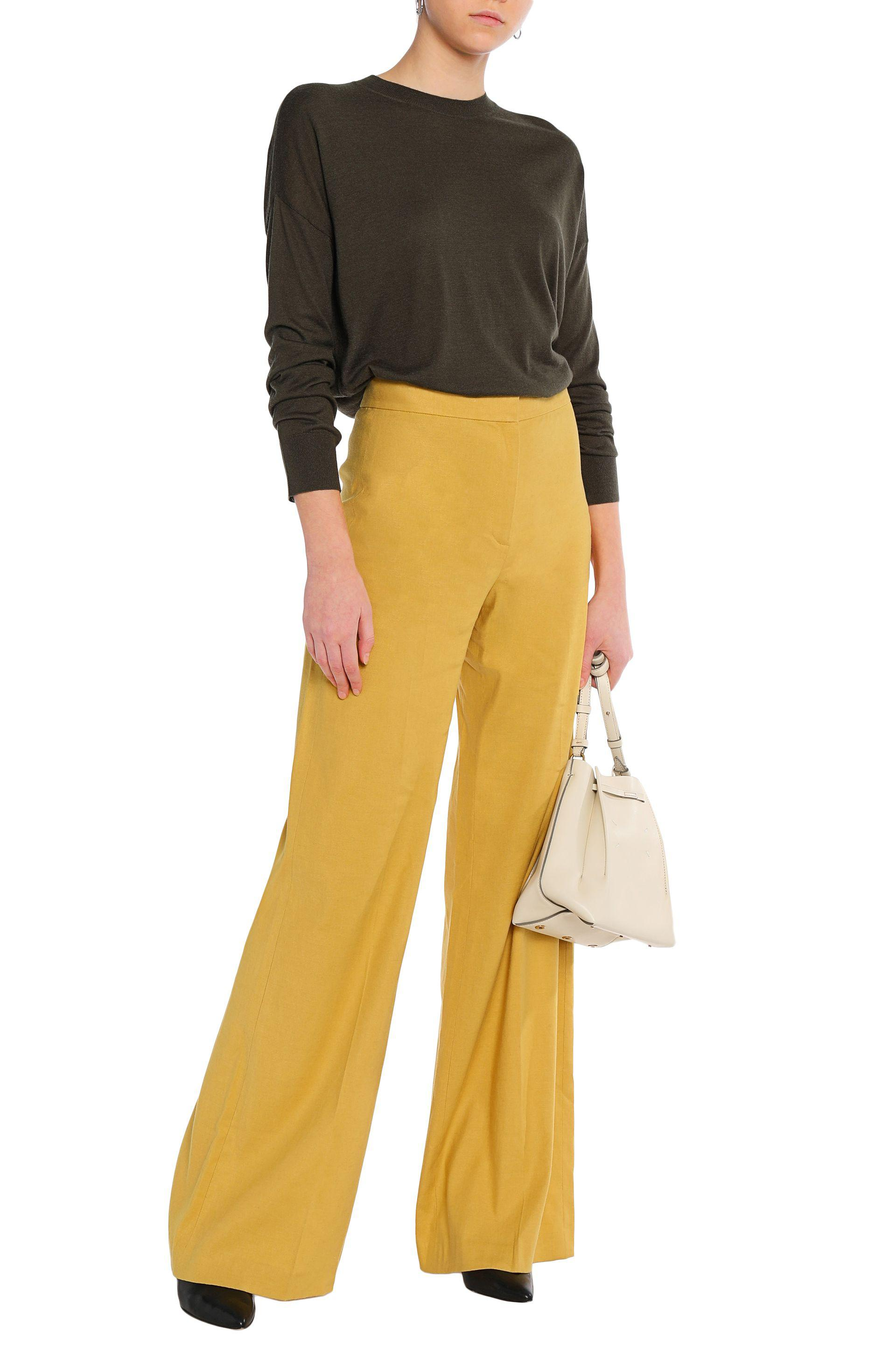 99b06d11aaa6 Theory Linen-blend Wide-leg Pants in Yellow - Lyst