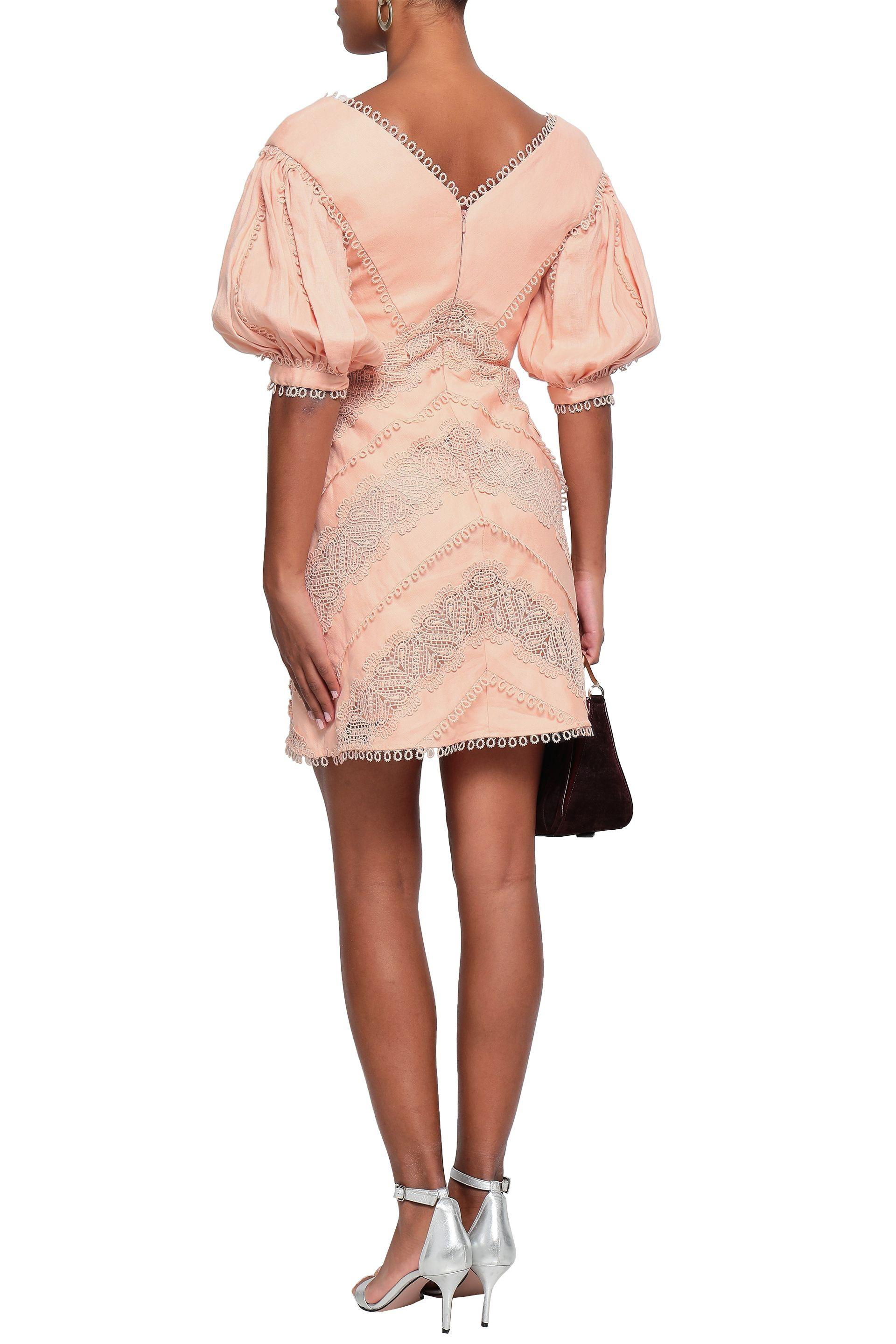 5d1dd4d3ba79e Tap to visit site. Zimmermann - Pink Woman Guipure Lace-trimmed Gathered  Linen Mini Dress Blush - Lyst