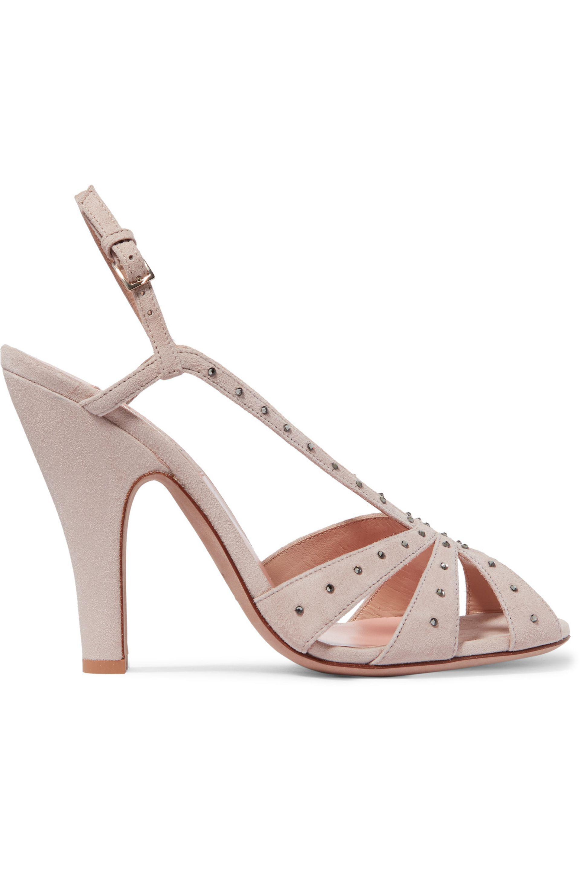 Valentino. Women's Pink Crystal-embellished Suede Slingback Sandals