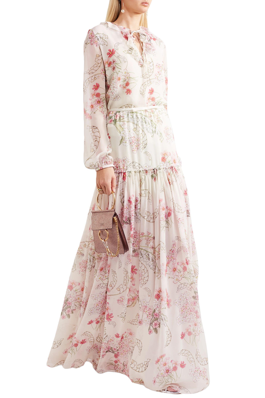 d0e4719f1237 Lyst - Giambattista Valli Floral-print Silk Crepe De Chine Maxi ...