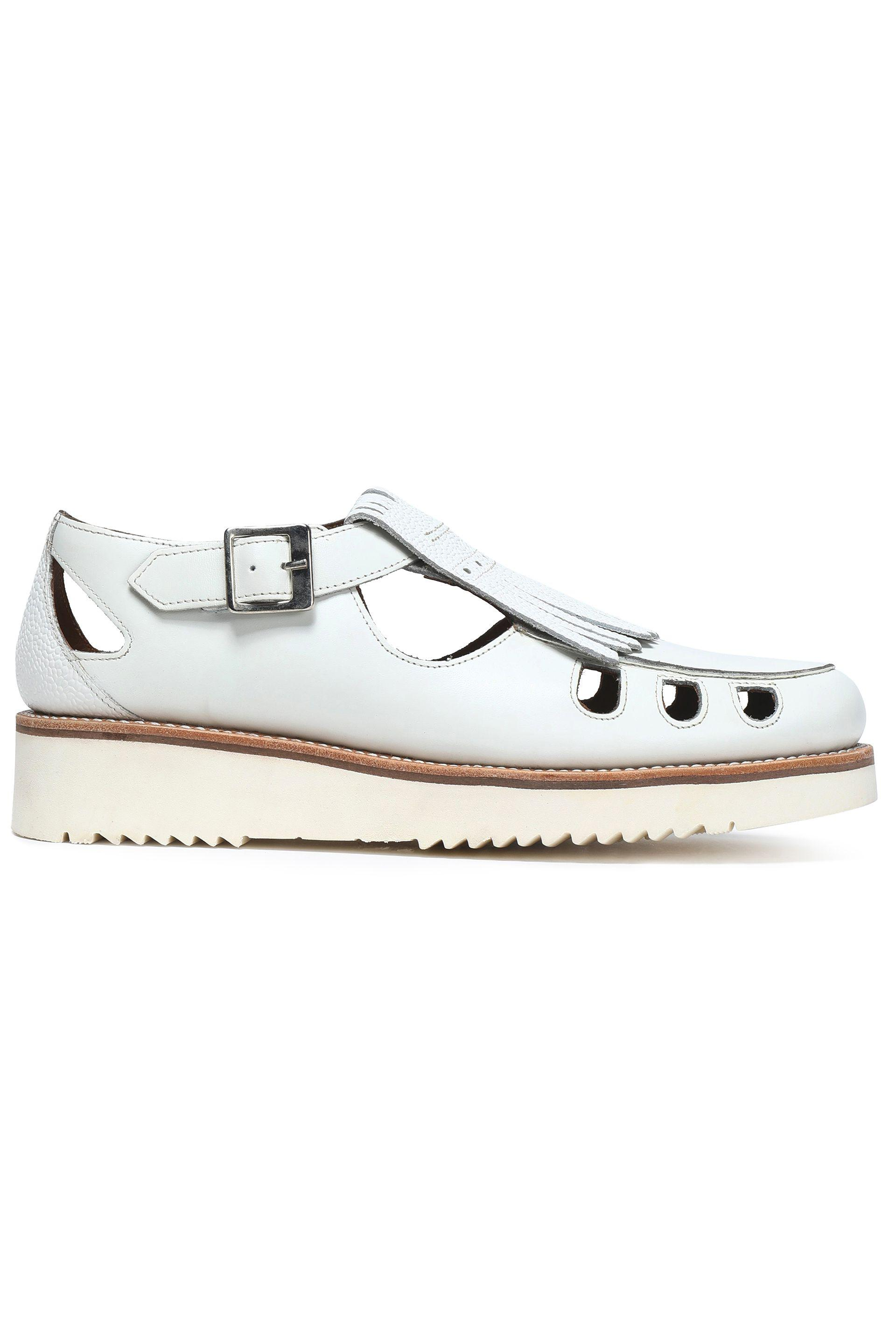 94fd76466b4 Grenson Woman Fringed Cutout Leather Loafers White in White - Lyst