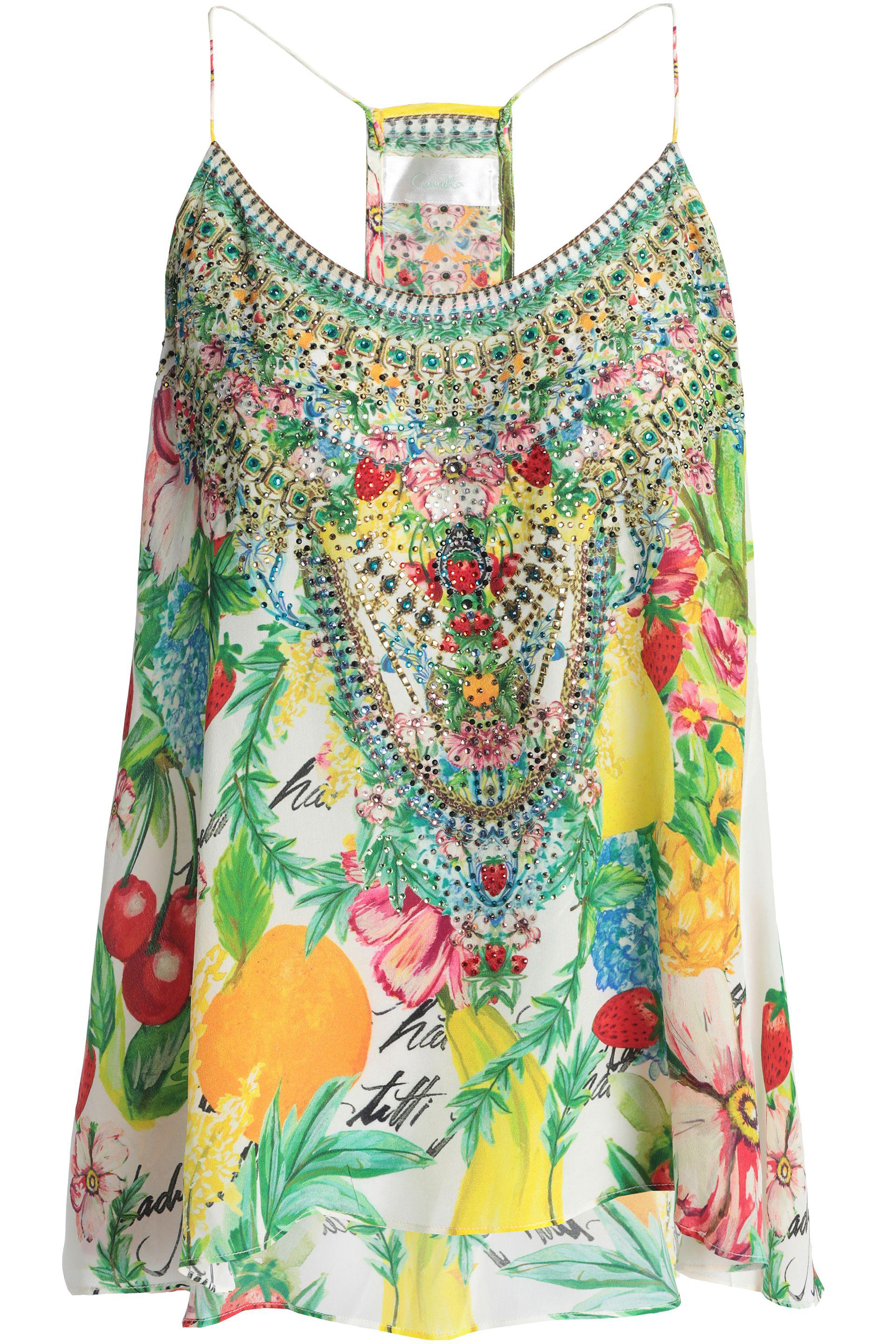 0a1fef24e8687 Camilla Embellished Printed Silk Crepe De Chine Top - Lyst