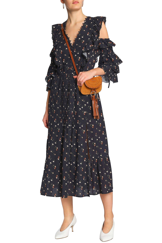aabf5c47 Sea Woman Cutout Floral-print Cotton-gauze Midi Dress Black in Black ...
