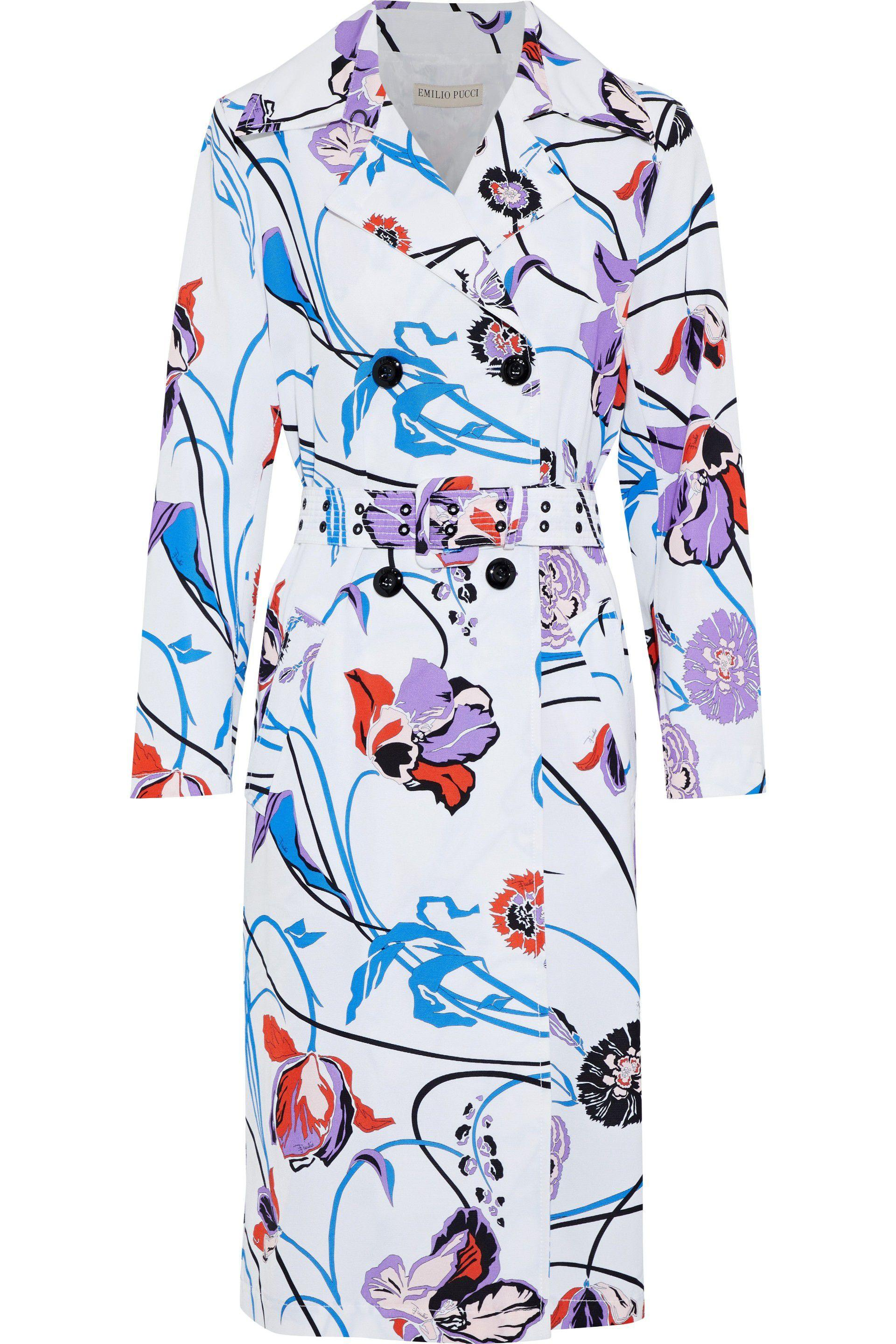 84610c7464f3 Lyst - Emilio Pucci Woman Floral-print Cotton-blend Faille Trench ...