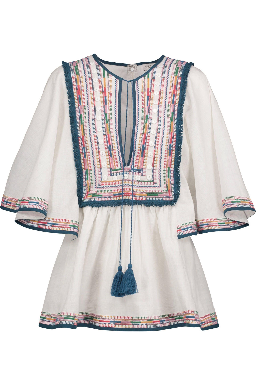 Talitha Woman Tasseled Embroidered Cotton-gauze Blouse White Size L Talitha Sale Shop For wDXdw2Y7lA