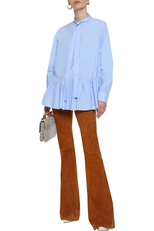 684cf7ab5e54d 10 Crosby Derek Lam - Woman Pussy-bow Cotton-poplin Peplum Top Light Blue.  View fullscreen