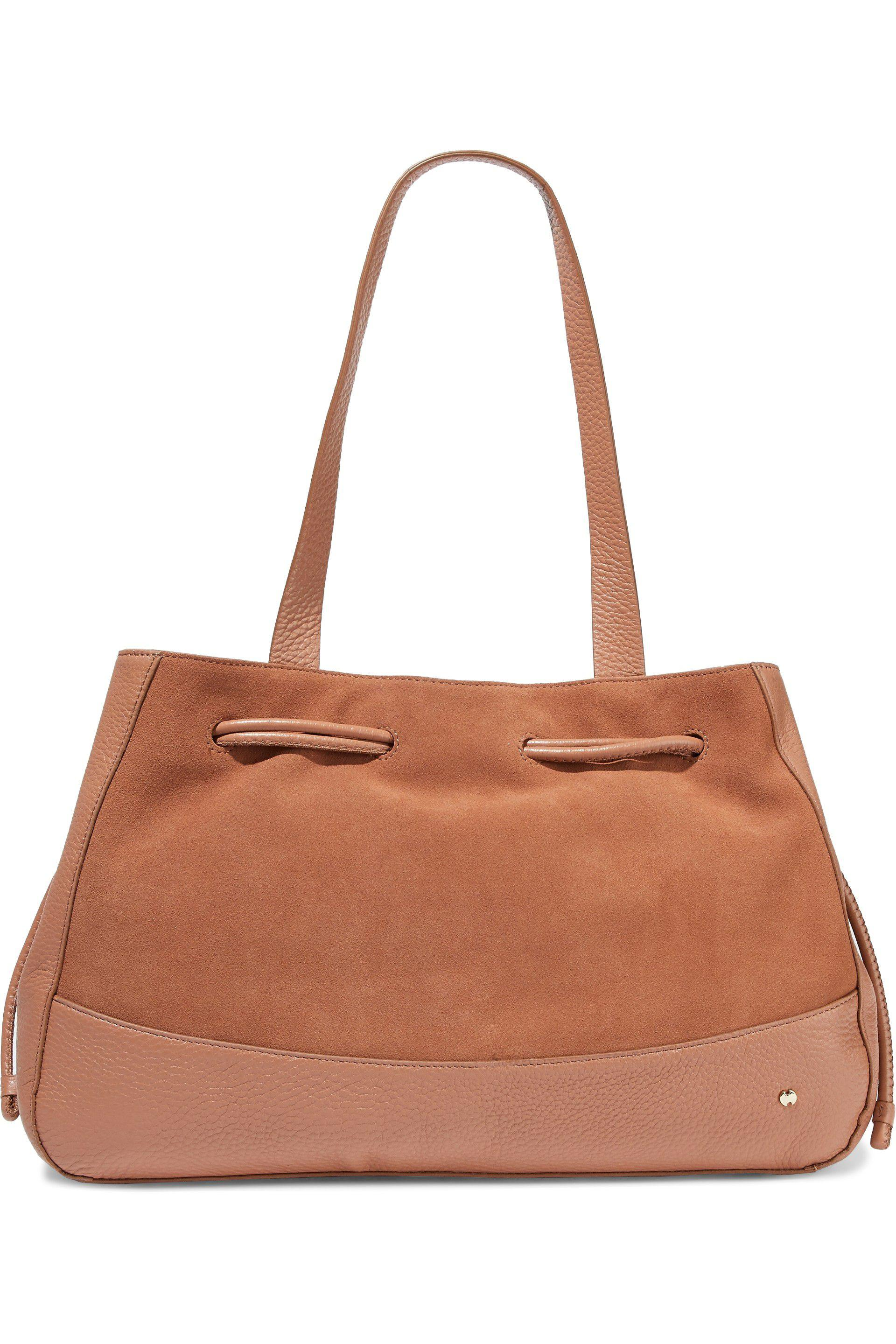 Lyst - Halston Heritage Suede And Textured-leather Tote in Brown 9b827788dfbf3