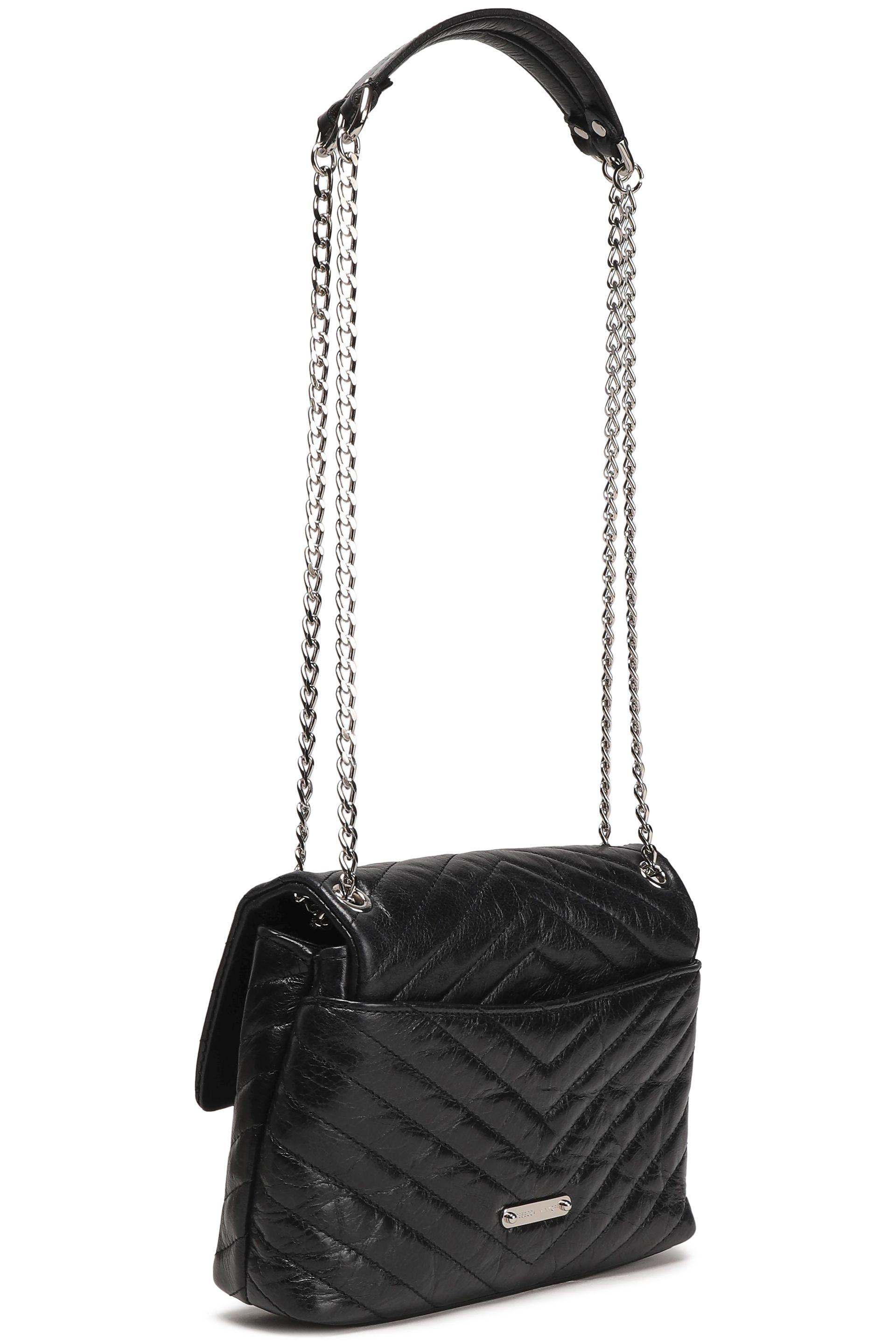 b14d2a1279881 Rebecca Minkoff - Woman Chain-trimmed Quilted Leather Shoulder Bag Black -  Lyst. View fullscreen