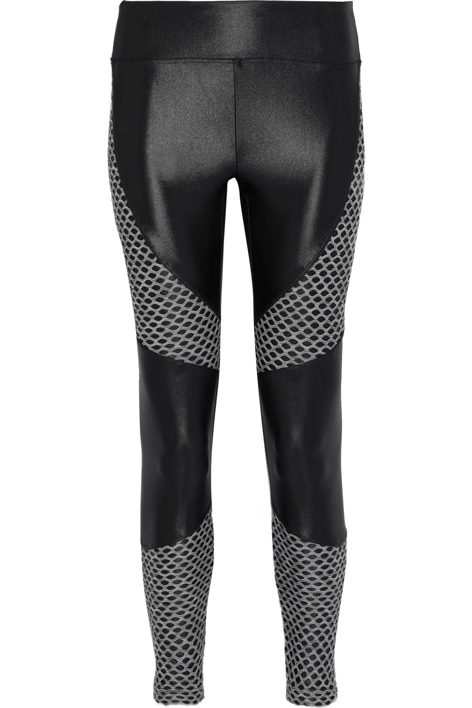 41f9c820a6917 Lyst - Koral Woman Forge Mesh-paneled Coated Stretch Leggings Black ...