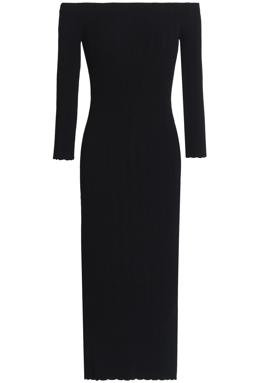 b19ca699060 Rag   Bone Woman Ribbed-knit Midi Dress Black in Black - Lyst