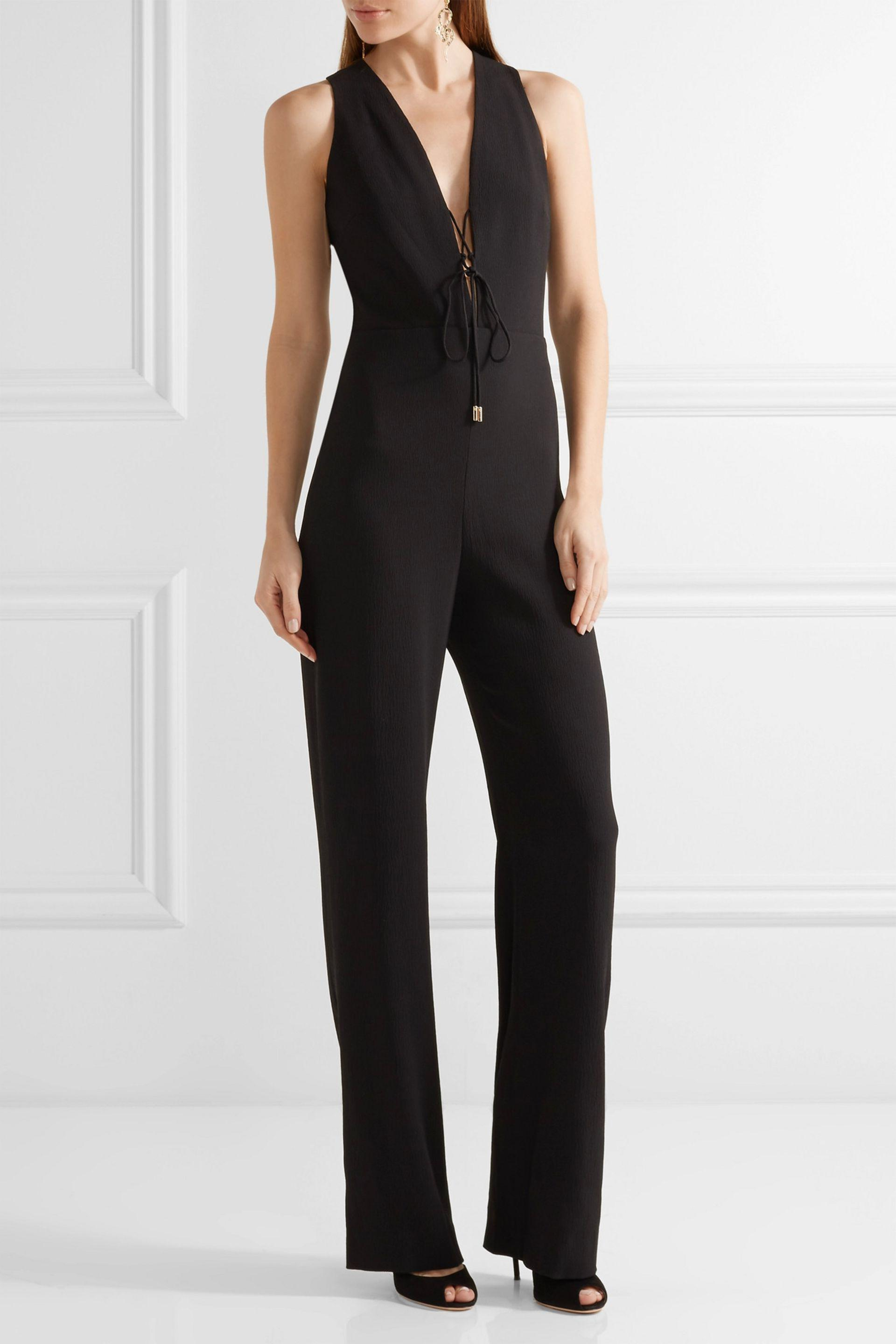 ee786fd5ace7 Cushnie et Ochs - Black Claudia Lace-up Crinkled Stretch-crepe Jumpsuit -  Lyst. View fullscreen