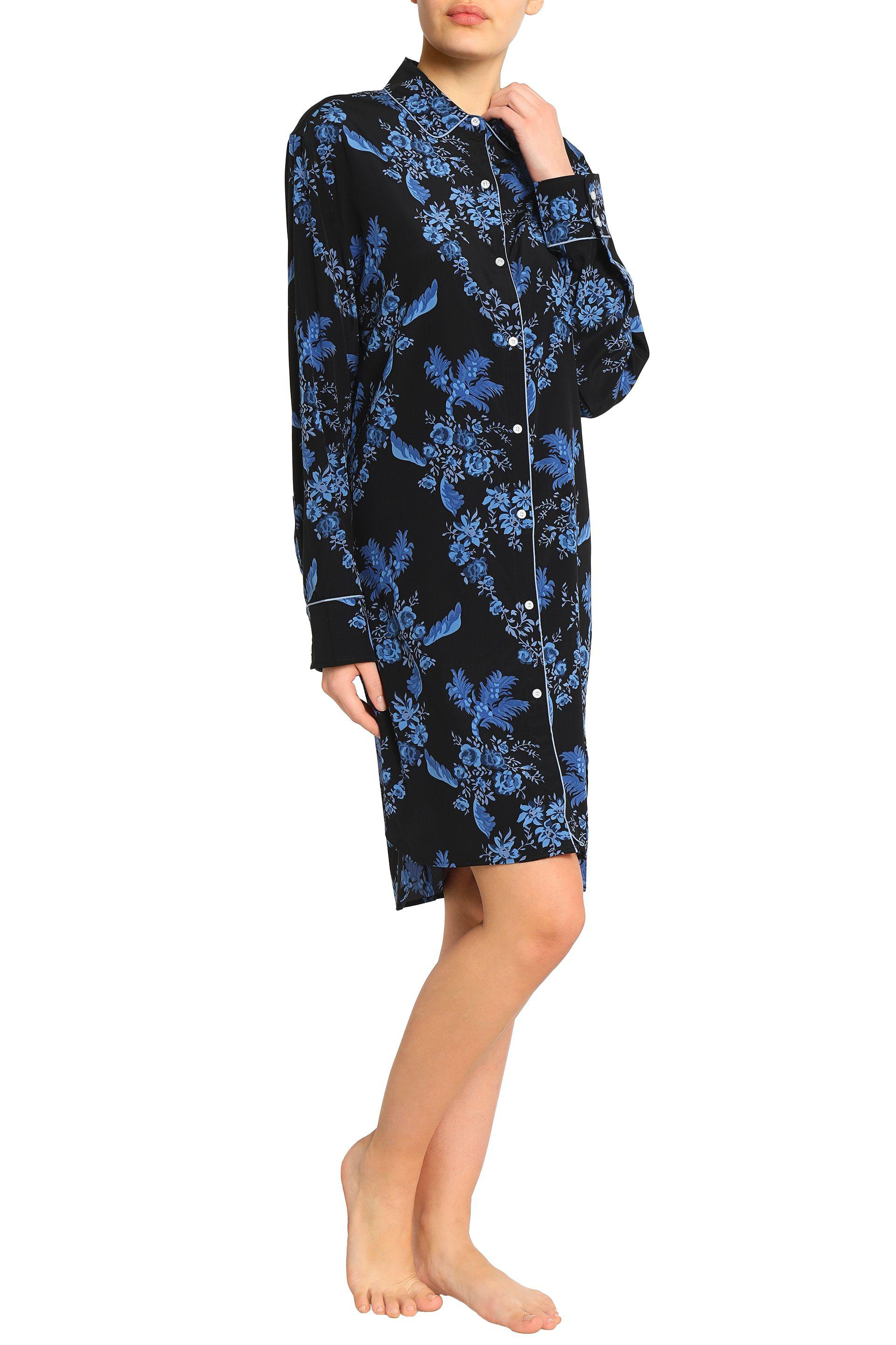 Stella Mccartney Woman Floral-print Stretch-silk Nightshirt Black Size S Stella McCartney Pay With Paypal Online Marketable In China For Sale Popular UXue8OuX