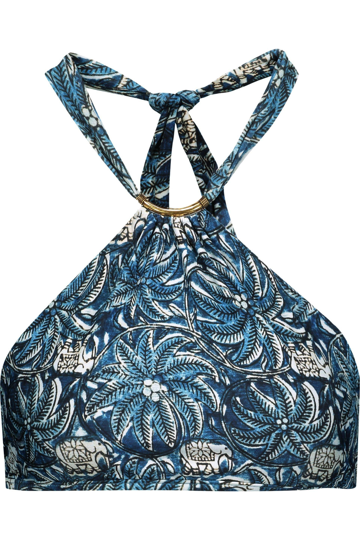 ViX. Women's Blue Jakarta Thai Embellished Printed Halterneck Bikini Top