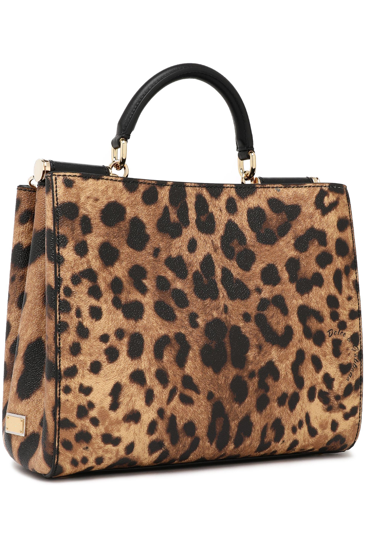 f42f1c95a6f ... half off 5115e 9f012 Dolce Gabbana - Brown Leopard-print Textured- leather Shoulder Bag ...