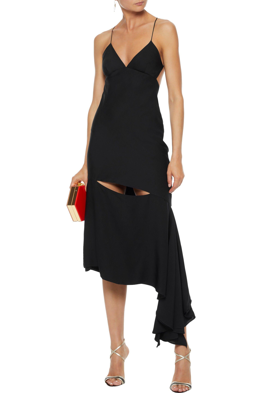 82df65d6 MILLY - Woman Fractured Bias Asymmetric Cutout Stretch-silk Slip Dress  Black - Lyst. View fullscreen