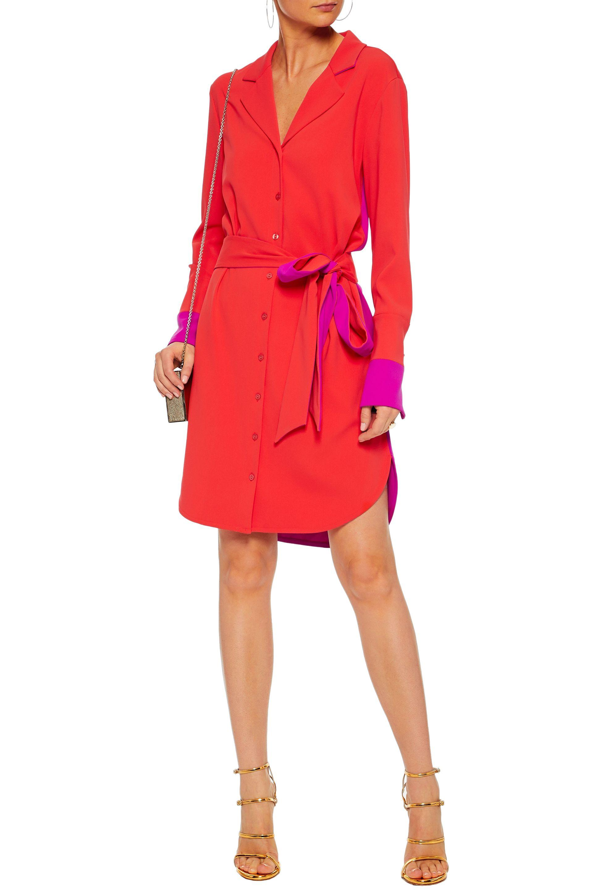5617de726195 Badgley Mischka Woman Belted Two-tone Cady Shirt Dress Papaya in Red ...