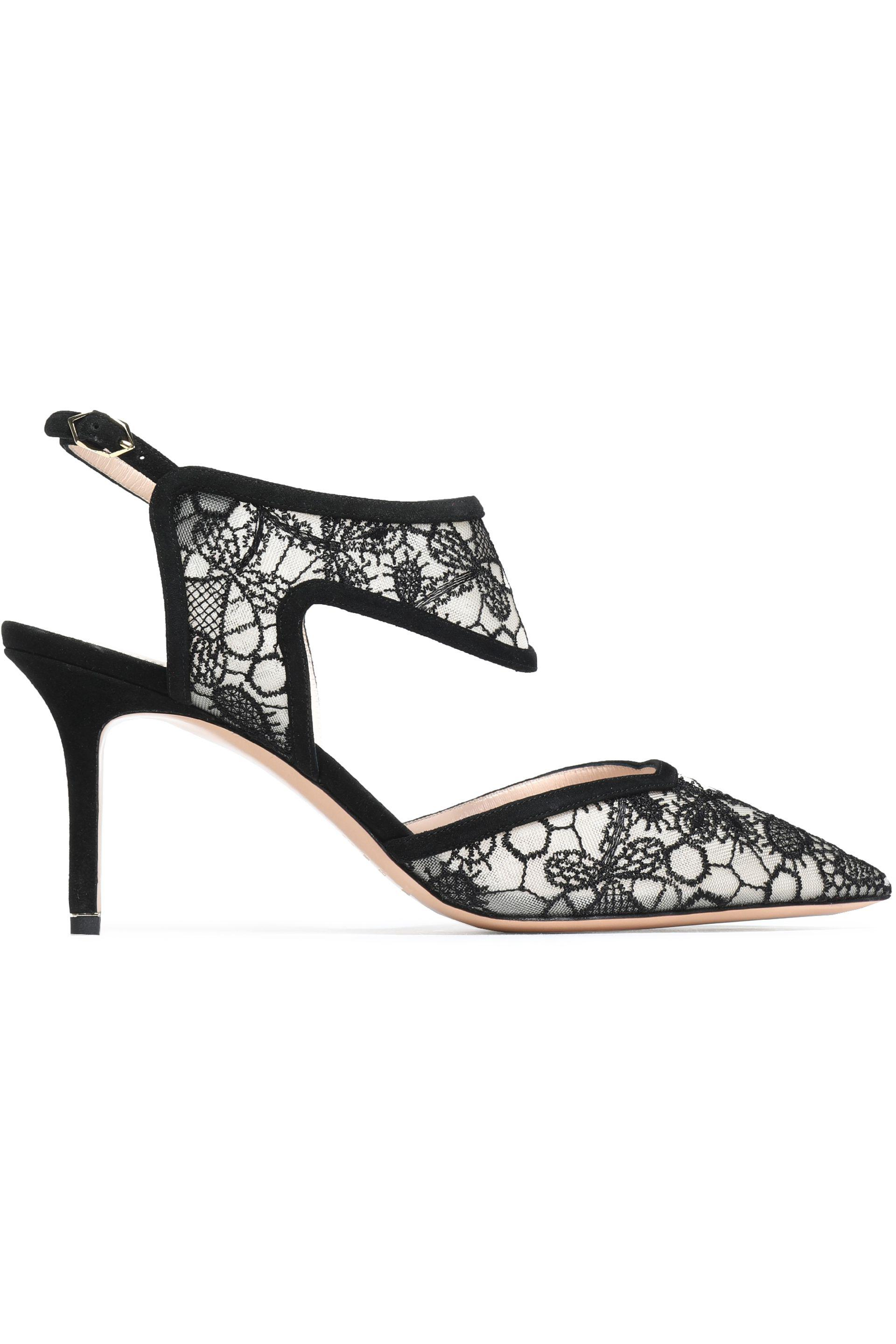 f5194b55172 Nicholas Kirkwood. Women s Black Suede-trimmed Embroidered Mesh Court Shoes