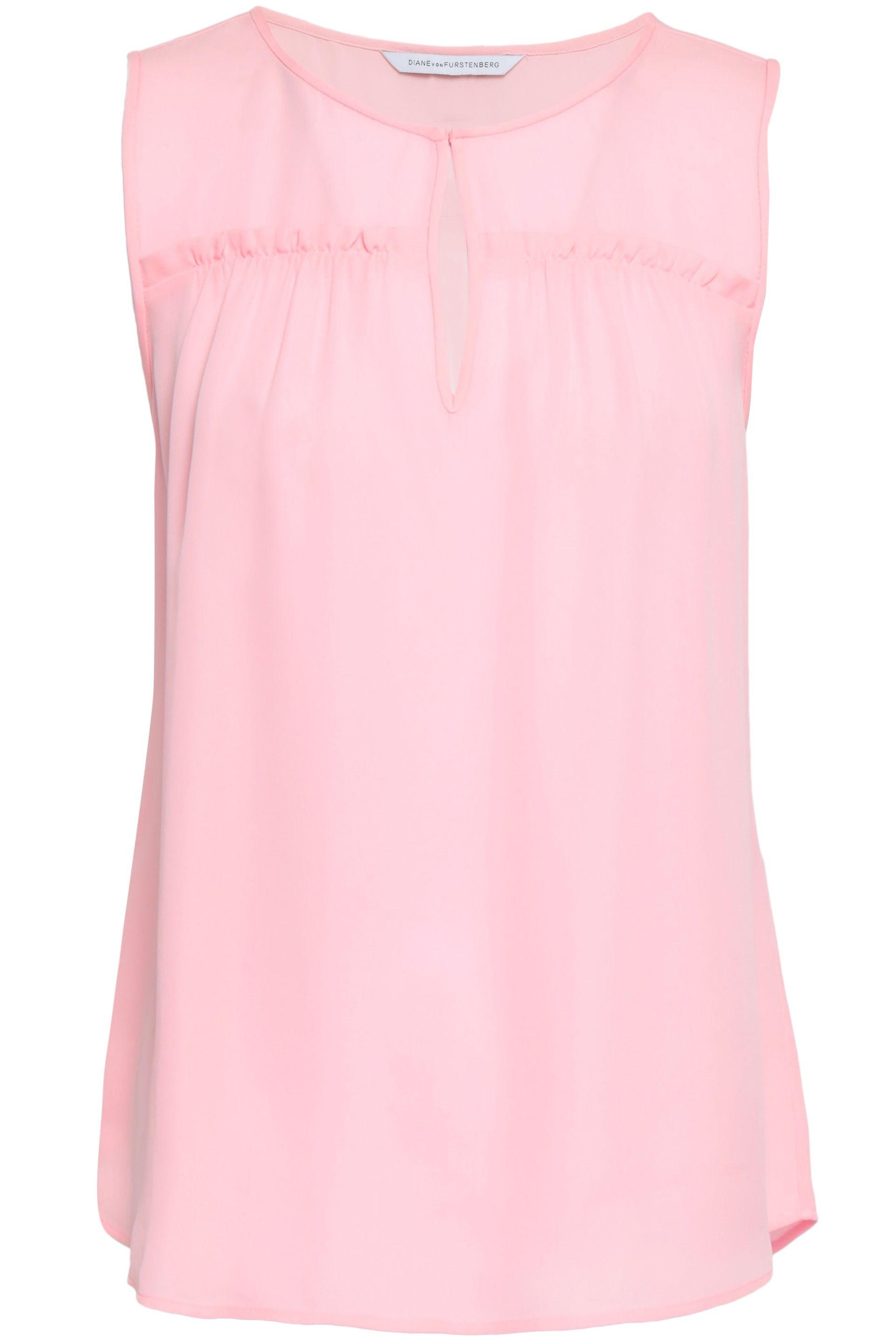 0e7385175 Diane von Furstenberg Woman Ruffle-trimmed Crepe Top Baby Pink in ...