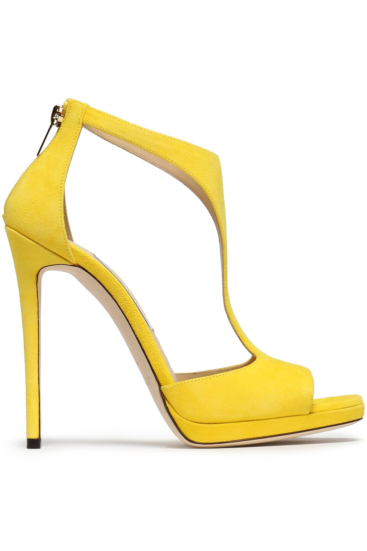 Jimmy Choo Woman Ren Cutout Suede Sandals Yellow Size 35 Jimmy Choo London BUpMG6EXzF