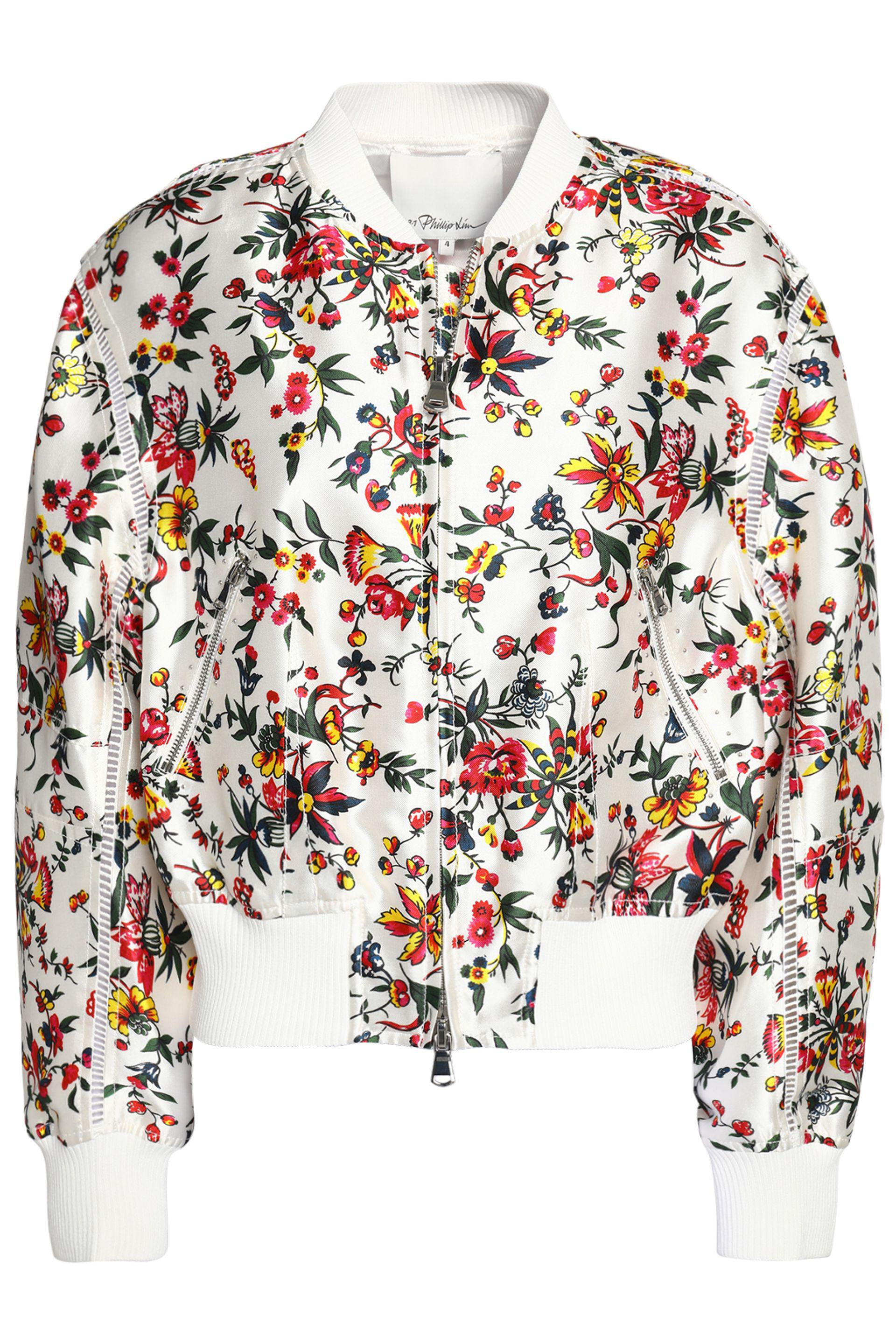 a78293afe Lyst - 3.1 Phillip Lim Floral-print Silk And Cotton-blend Bomber ...